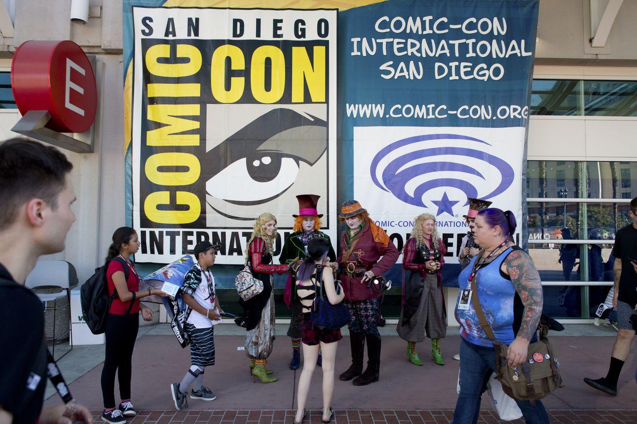 Visitors at Comic-Con poster