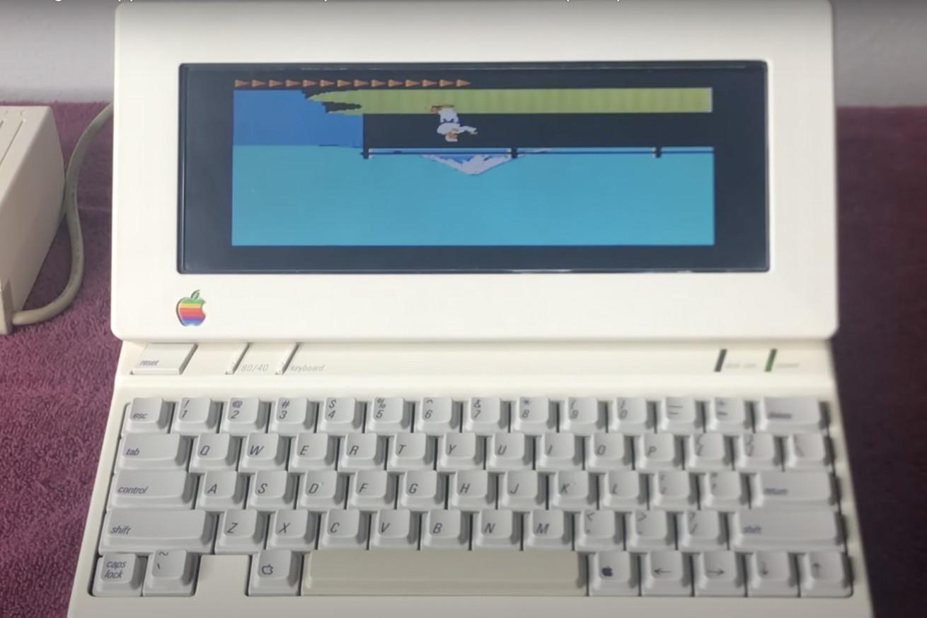 1984 Apple II game Karateka booted upside down